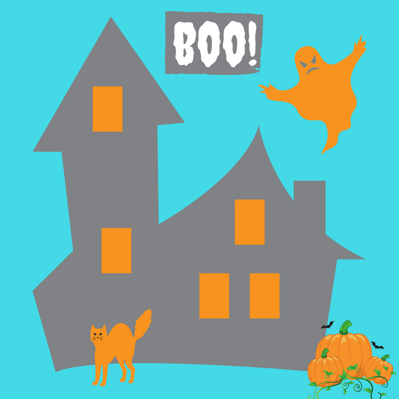 Halloween festivals with a House, Cat, Ghost and Pumpkins